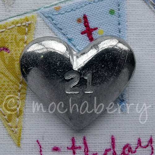 Pewter Token Pewter 21 Heart Token Pewter Pocket Charm